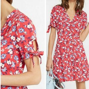 Express Red Floral Button Front Short Sleeve Dress